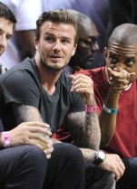 Becks, qui a aussi assisté à un match du Miami Heat, s'est plusieurs fois fait interpeller par des fans