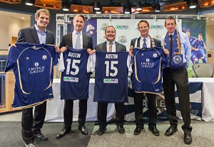 In 2011, Emergo Group became the title sponsor of the team. David Markley, the other owner is at the center of picture to show the jerseys